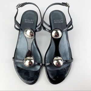 SW Patent Leather Low Wedge Strappy Sandals